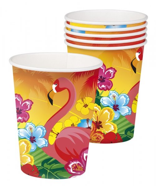 6 Pappbecher Hawaii Flamingo Beachparty Strandparty Becher Dek