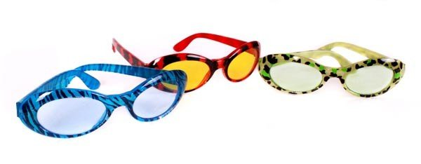 Funky Disco Party Brille Sonnenbrille 80er 90er Jahre rot